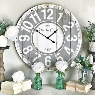 "Distressed ""Mercantile Street"" Wall Clock"