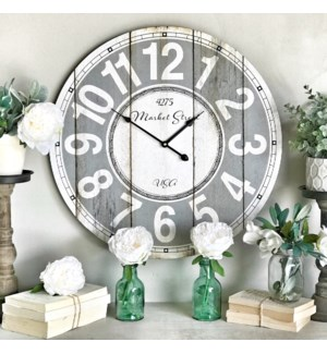 "Distressed ""Mercantile Street"" Wall Clock"