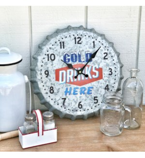 "Distressed Galvanized ""Cold Drinks"" Wall Clock"