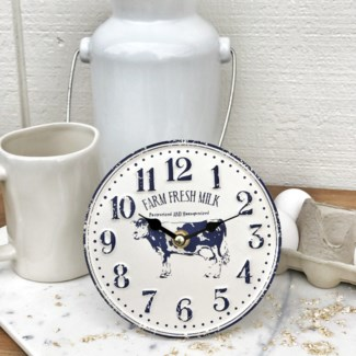 "Embossed Metal ""Farm Fresh"" Wall Clock"