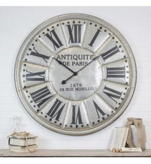 """Large """"Antiquite De Paris"""" Silver Wall Clock"""