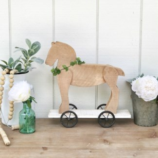 Natural Wood Horse Toy Decor