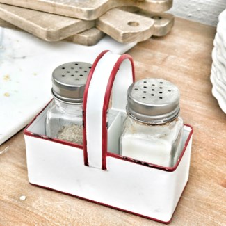 Enamel Salt and Pepper Caddy