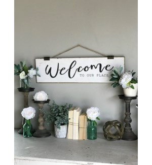 """Wood """"Welcome"""" Sign With Rope Hanger"""