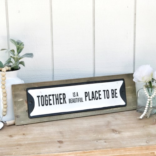 Favorite Place To Be Metal Sign On Wood