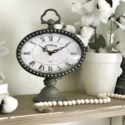 Black Metal Table Clock With Handle