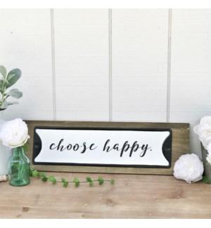 Choose Happy Metal Sign On Wood