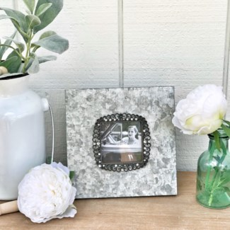 Galvanized 3.50X3.50 Frame With Jeweled Accents