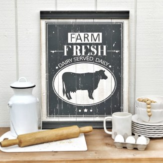 "Wood ""Farm Fresh"" Sign With Chair Rail Molding"