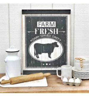 "Wood ""Farm Fresh"" Sign With Chair Rail Molding"