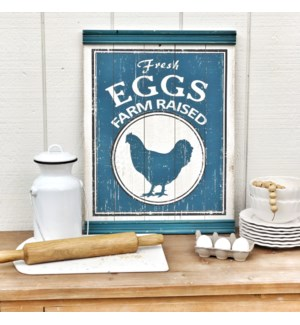 "Wood ""Eggs"" Sign With Chair Rail Molding"