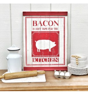"Wood ""Bacon"" Sign With Chair Rail Molding"