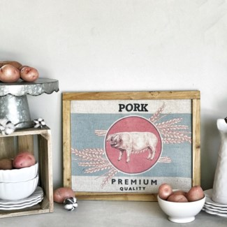 "Wood Framed Printed Farm Art ""Pork"""