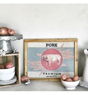 "Wood Framed Printed Farm Art ""Pork"""