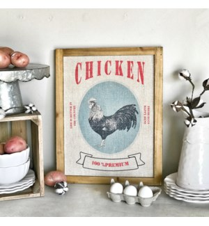 "Wood Framed Printed Farm Art ""Chicken"""