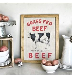 "Wood Framed Printed Farm Art ""Beef"""