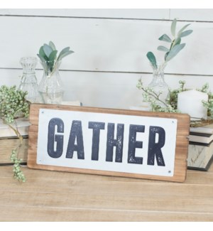 """Metal """"Gather"""" Sign On Natural Wood Board"""