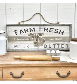 "Metal Framed Printed ""Farm Fresh"" Art With Rope Hanger"