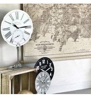 White Antique Table Top Clock On Stand