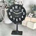 Black Antique Table Top Clock On Stand
