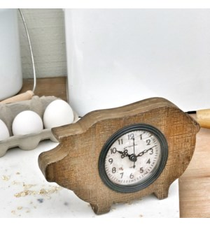 Scraped Wood Pig Clock