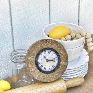 Scraped Wood Round Clock