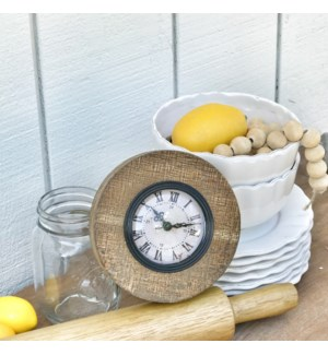 Scraped Wood Round Clock