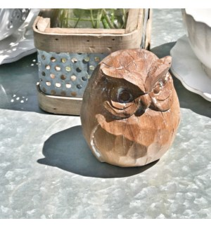 Carved Table Top Owl Decor