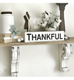"Carved Wood Block ""Thankful"" Sign"