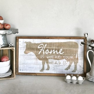 "Wood Framed Distressed ""Where Your Herd Is"" Wall Art"