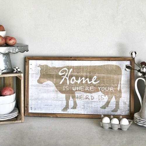 """Wood Framed Distressed """"Where Your Herd Is"""" Wall Art"""