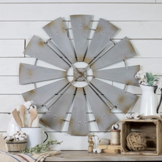 "36"" Windmill Iron Wall Decor"