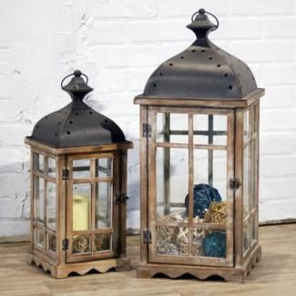 Natural Wood Lanterns With Metal Top Set Of 2