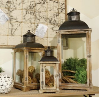 Natural Wood Lanterns With Metal Top Set Of 3