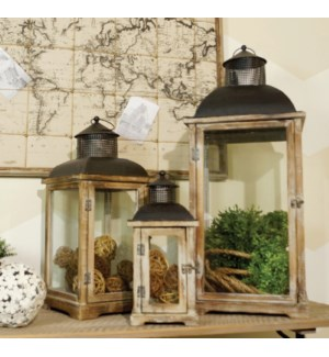 Natural Wood Lanterns With Metal Top Set Of 3