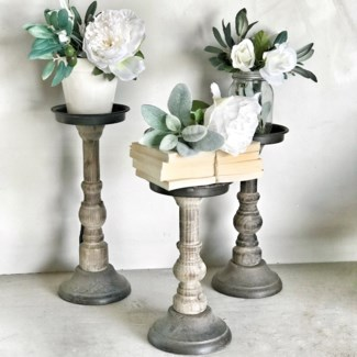 Distressed Wood Pillar Candle Holder