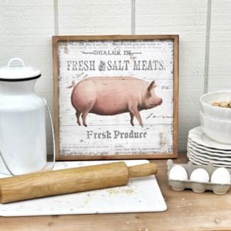 """Wood Framed """"Fresh Meats"""" Sign"""