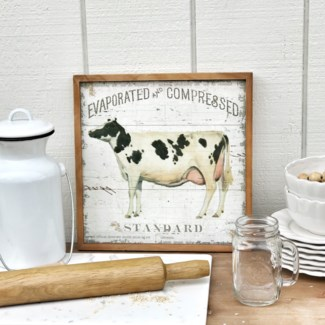 "Wood Framed ""Evaporated And Compressed"" Milk Sign"