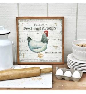 """Wood Framed """"Fresh Eggs"""" Sign"""