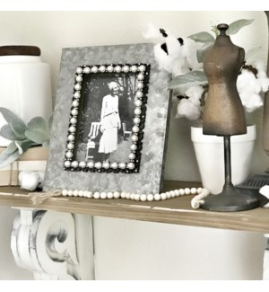 Galvanized 5X7 Frame With Pearl Accents