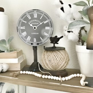 Gray Antique Table Top Clock On Stand