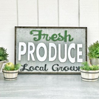 Corrugated Metal Fresh Produce Sign