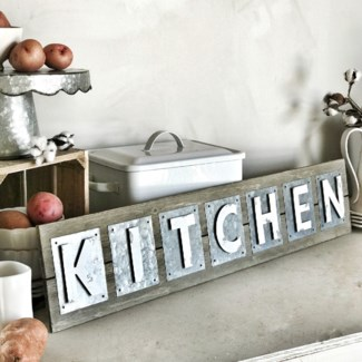 Metal Kitchen Sign With Natural Wood Back
