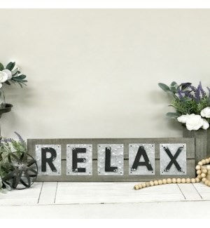 Metal Relax Sign On  Wood