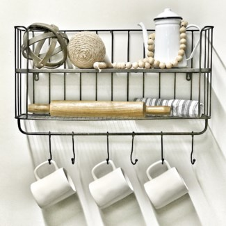 Metal Wall Shelf With Hooks
