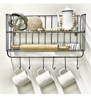 Metal Wall Shelf With Hooks