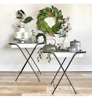 White Enamel Folding Tray Table Set Of Two