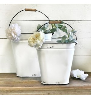 White Enamel Bucket Set