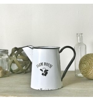 White Enamel Farmhouse Pitcher