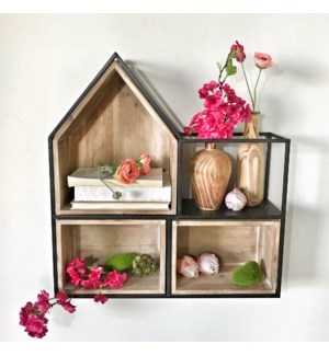 Wood And Metal House Cubby Wall Shelf